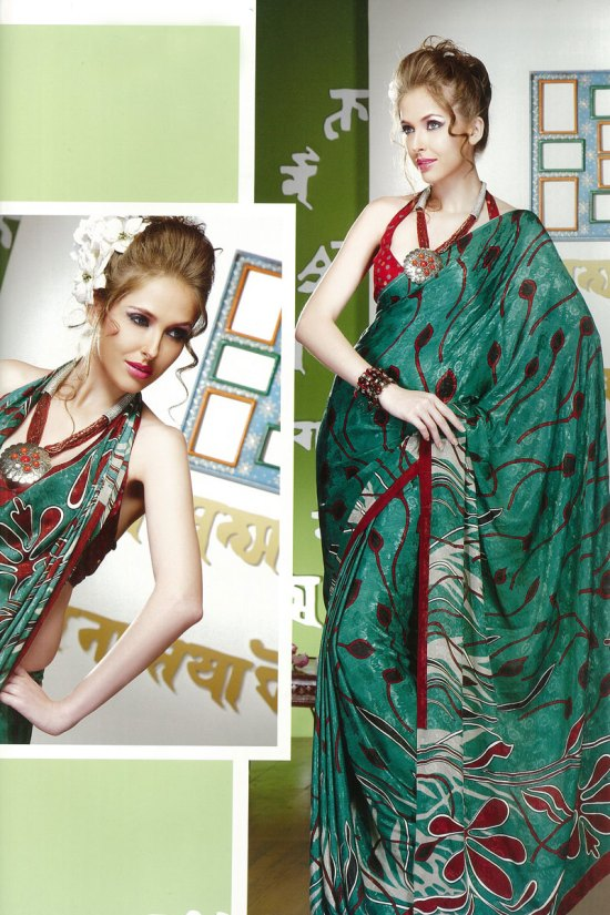 Green Printed Sari with Red Sleeve lees Blouse