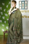 Faux Georgette Printed Saree in Fern Green Color