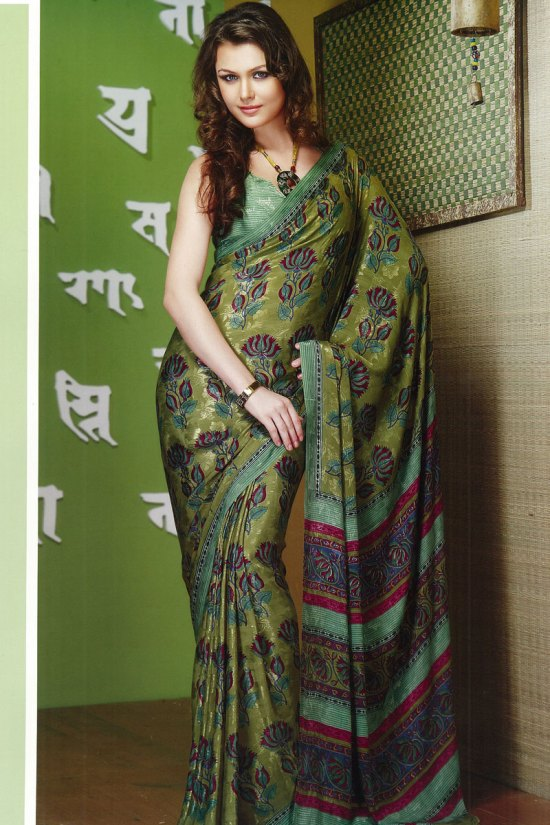 Rose Prints Faux Georgette Printed Saree 2010
