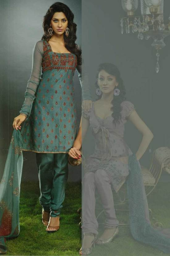 Teal Churidar with Blue Silk Kameez, ideal for party wear