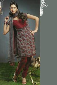 Maroon Cotton Party Wear Chudidar Kameez Design 2010