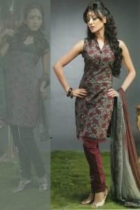 Sleeveless Churidar Kameez with Brown Churidar