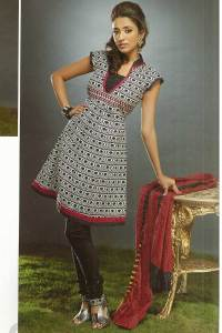 Brown Kameez with Black Churidar Ideal for Party and Festival Wear