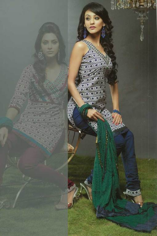 Dark Blue Sleeveless Chudidar Kameez 2010
