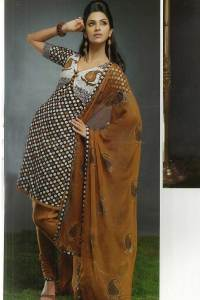 Party Churidar Kameez in Black and Brown Color
