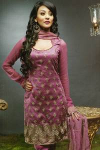 Pink Anarkali Style Churidar Kameez with matching Dupatta piece