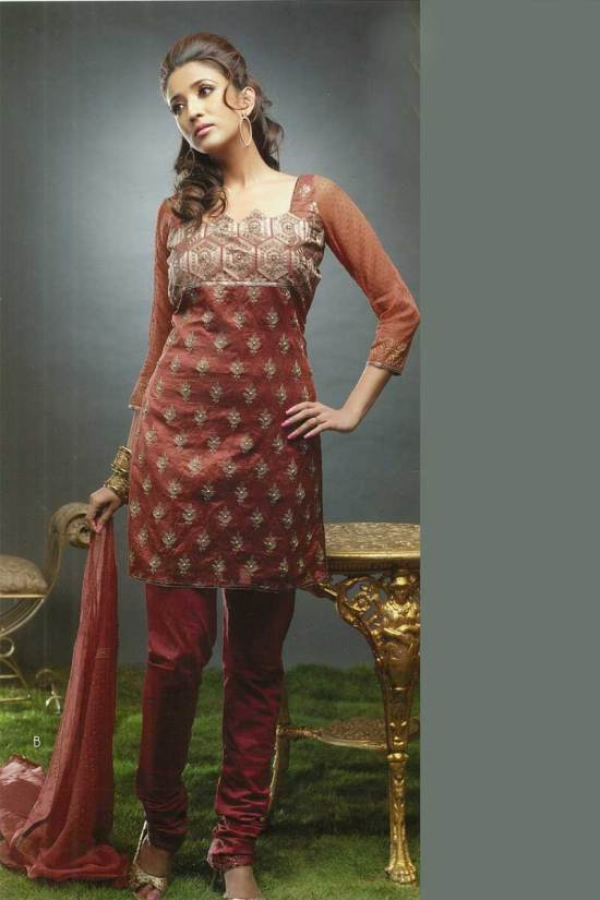 Red Embroidered Churidar Kameez with Chunni