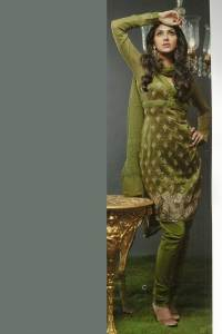 Olive Green Churidar Kameez with Full Sleeves