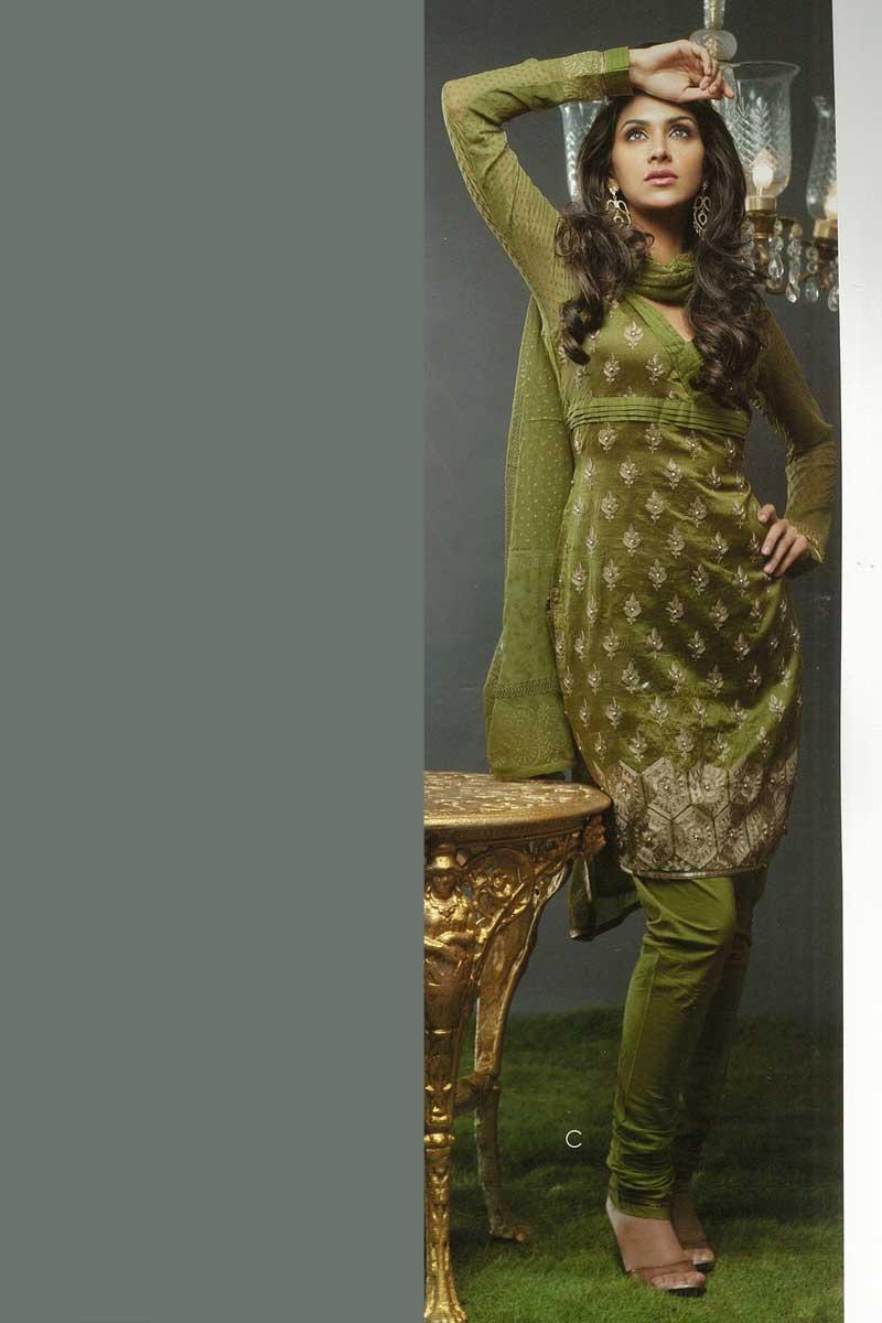 Olive Green Churidar Kameez with Full Sleeves