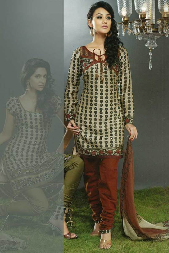 Unstitched Churidar Kameez Piece in Brown and Red Color