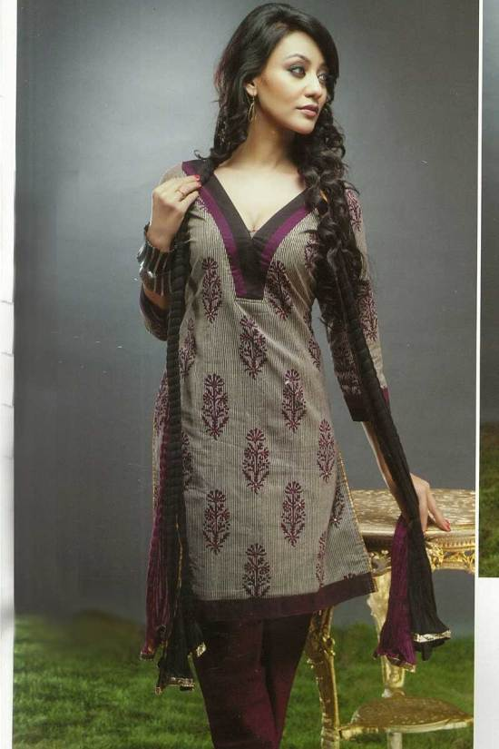 Churidar Kameez in Brown Color and in Unstitched Format