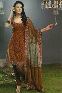 Deep Brown and Maroon unstitched Cotton Salwar Kameez