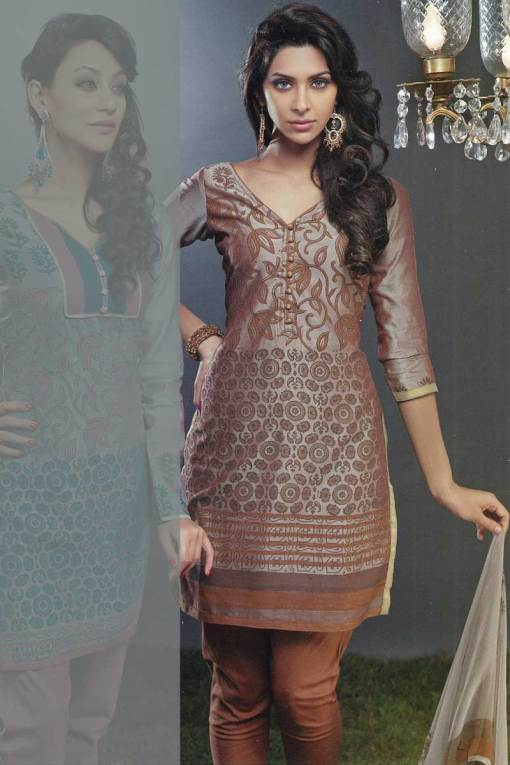 Cotton Embroidered Churidar Kameez 2010