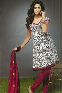 Churidar Kameez in White and Maroon Color