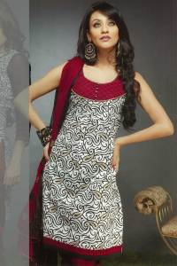 Rounded Neck Churidar Kameez in White and Red Color