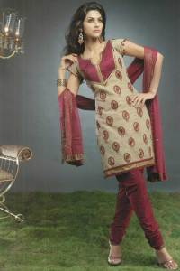 Maroon Churiar with Brown Embroidered Kameez 2010