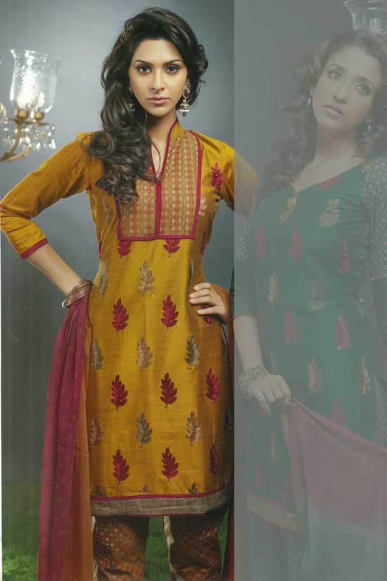 Full Sleeves Yellow Cotton Churidar Kameez Collection