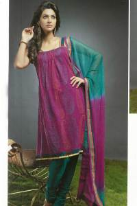 Pink and Pine Green Churidar Kameez 2010