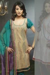 Churidar Kameez in Tan and Brown Color