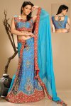 Latest Embroidered Lehenga Choli in Maya blue Color