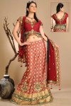 Newly Arrived Lehenga Choli in Salmon Orange and Carnelian Color