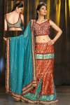Latest Red Lehenga Choli with Bondi Blue Dupatta