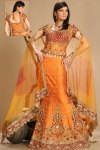 Latest Fishtail Lehenga Choli in Bright Orange Color