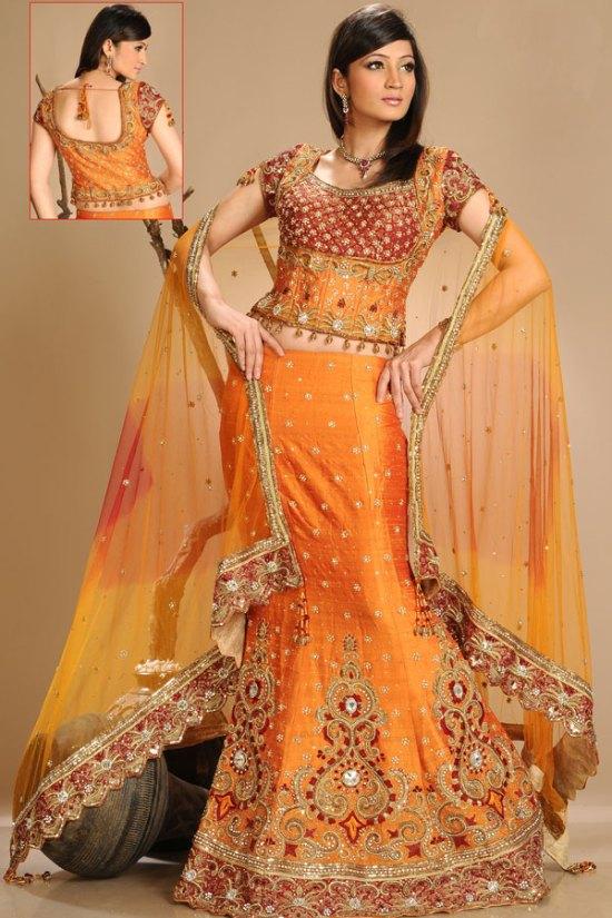 Latest Fishtail Lehenga Choli in Bright Orange Color