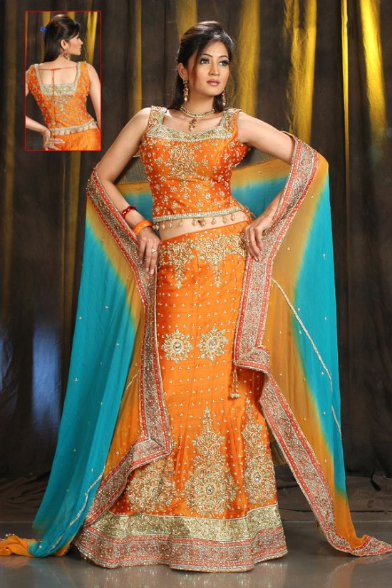 Latest Wedding and Festival Lehenga Choli in Orange Color