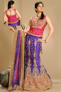 Faux Georgette A Cut Lehenga Choli with Embroidered Blouse Piece