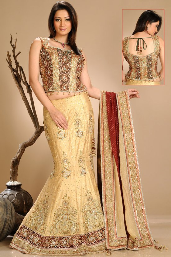 Latest Mermaid Style Lehenga Choli in Wheat Brown Color