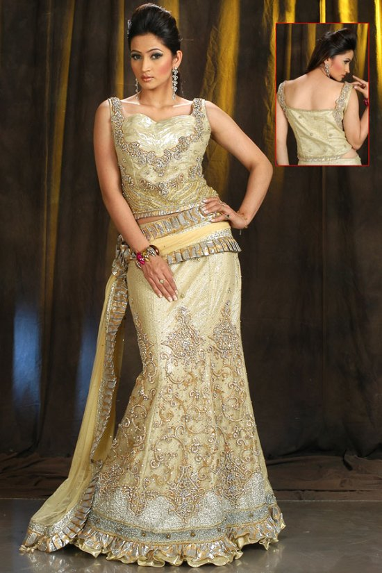 Beige Brown Fishtail Style Lehenga Choli for Wedding and Party Wear