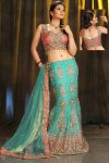 Latest Turquoise Lehenga with Salmon Pink Choli
