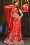 Embroidered Lehenga Choli in Red Color