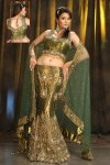 Latest A Cut Green Embroidered Lehenga Choli