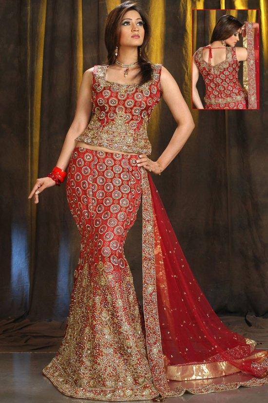 Newly Arrived Mermaid Style Red Lehenga Choli