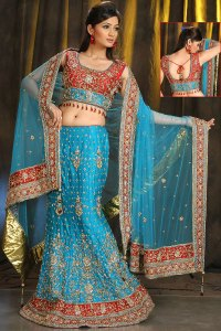 A Cut Wedding and Festival Lehenga Choli in Cerulean Blue Color