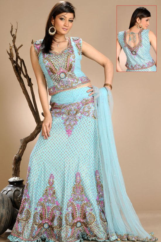Latest Lehenga Choli in Powder Blue Color