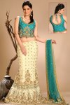 Latest A Cut Chiffon Lehenga Choli in Lemon and Bondi Blue Color