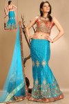 Blue A Cut Lehenga Choli for Wedding and Festival wear