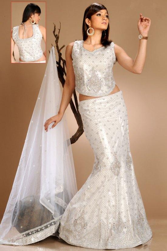 Dazzling Silver Color Mermaid Style Lehenga Choli 2010