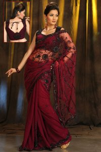 Latest Saree in Maroon Color with Embroidery Work