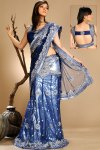 Latest Navy Blue Pre-Stitched Saree with Heavy Aanchal