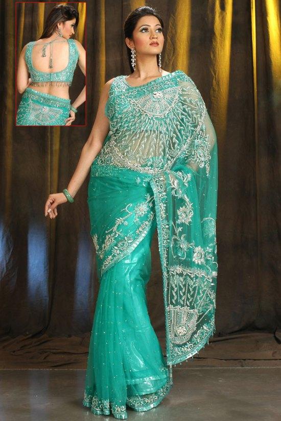 Wedding Saree in Persian Green Color