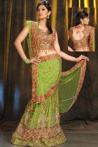 Fresh Lehenga Choli Design in yellow and Green Color