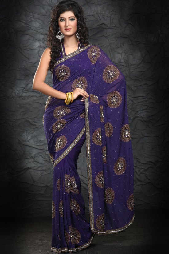 Latest Navy Blue Georgette Saree 2010