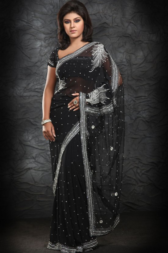 Latest Georgette Black Saree 2010
