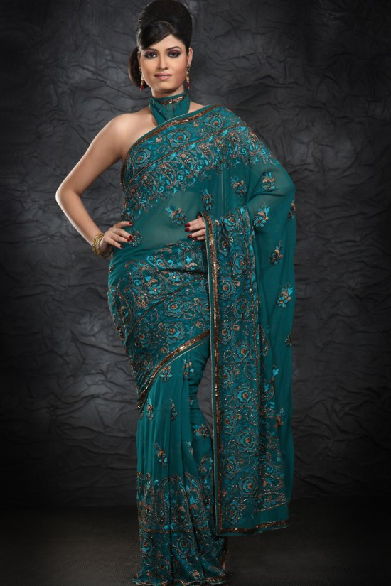 Latest Embroidered Party Saree in Bondi Blue Color