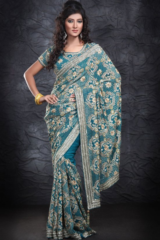 Intricate Embroidered Steel Blue Georgette Saree