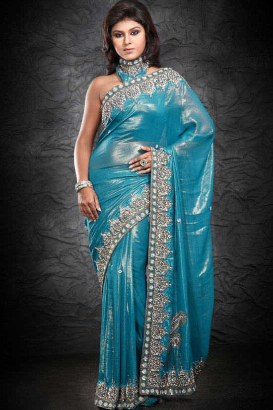 Latest Shimmer Georgette Party Wear Saree 2010